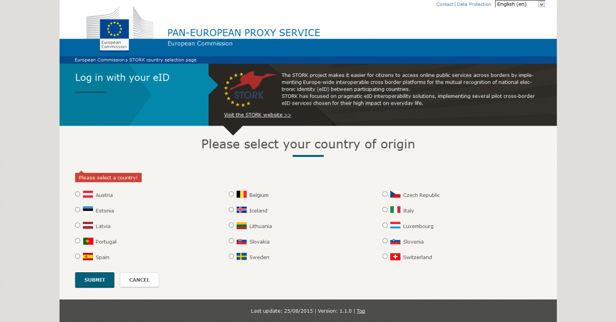 log in with your eid stork country selection page